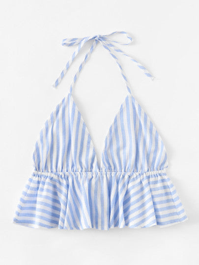 Striped Frill Hem Open Back Crop Halter Top