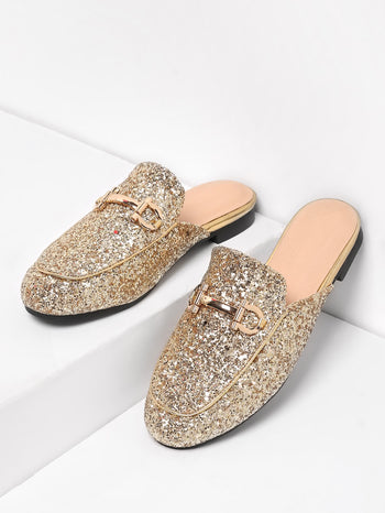 Metal Detail Glitter Overlay Flat Mules