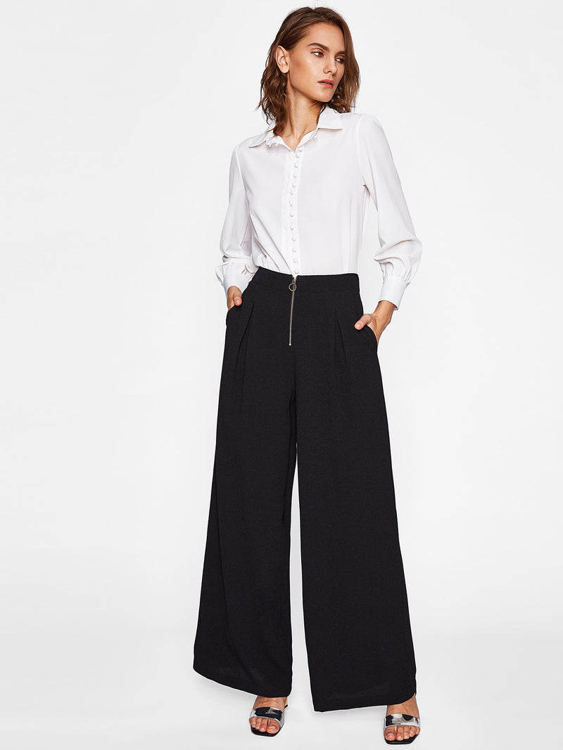 Exposed Zip Front Fold Pleat Palazzo Pants