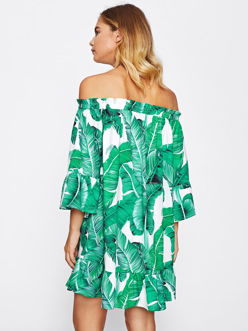 Bardot Frill Trim Jungle Print Dress