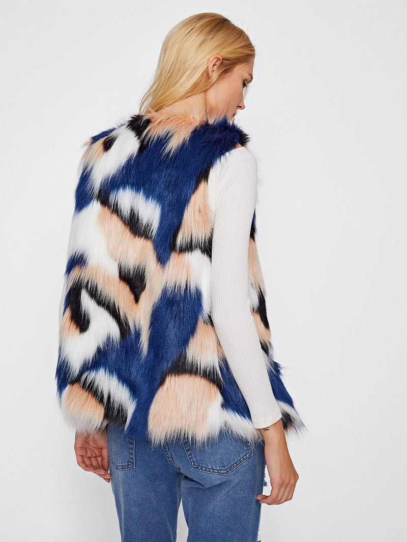 Colorful Faux Fur Vest