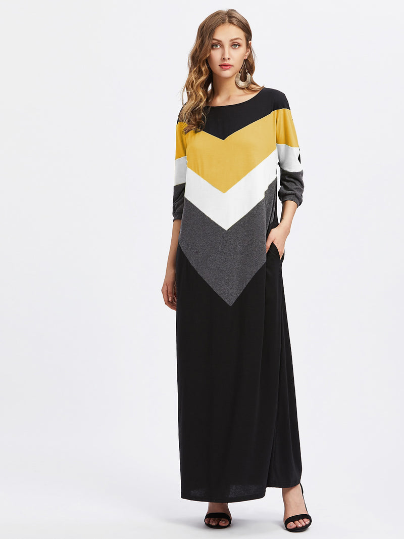 Contrast Cut And Sew Chevron Full Length Dress