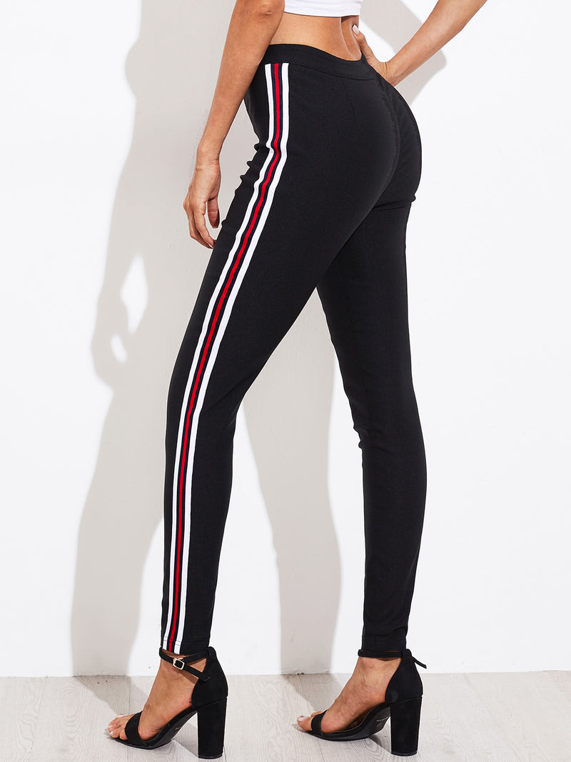 Side Striped Skinny Pants