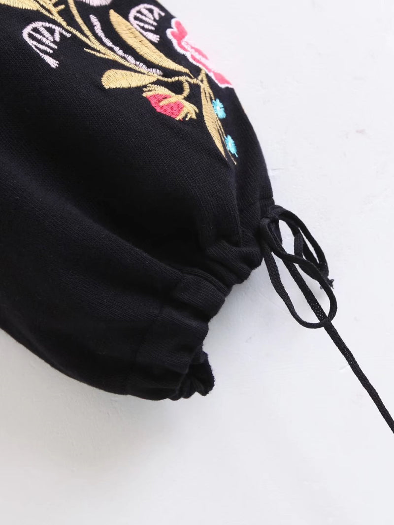 Embroidery Drawstring Lantern Sleeve Sweater
