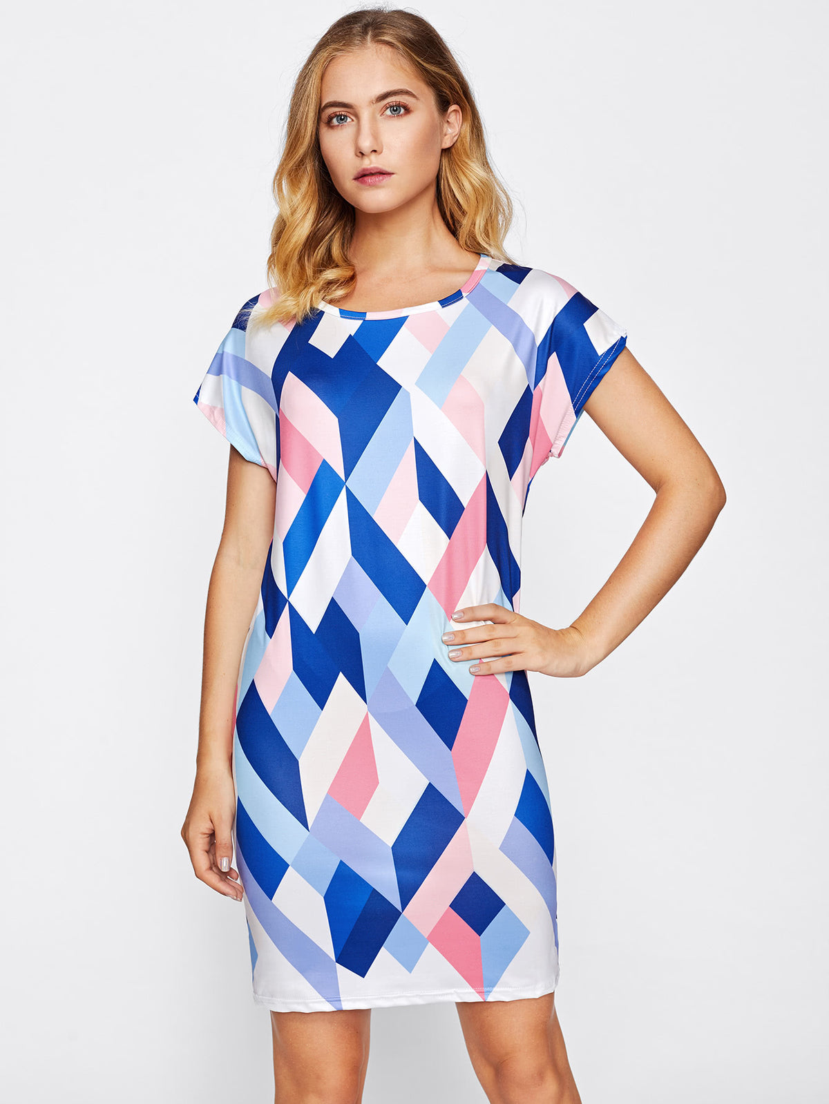 Geo Print Dolman Sleeve Dress