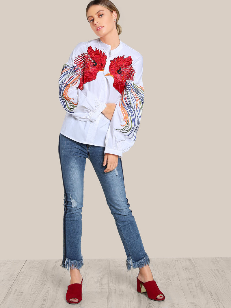 Bird Embroidered Lantern Sleeve Top