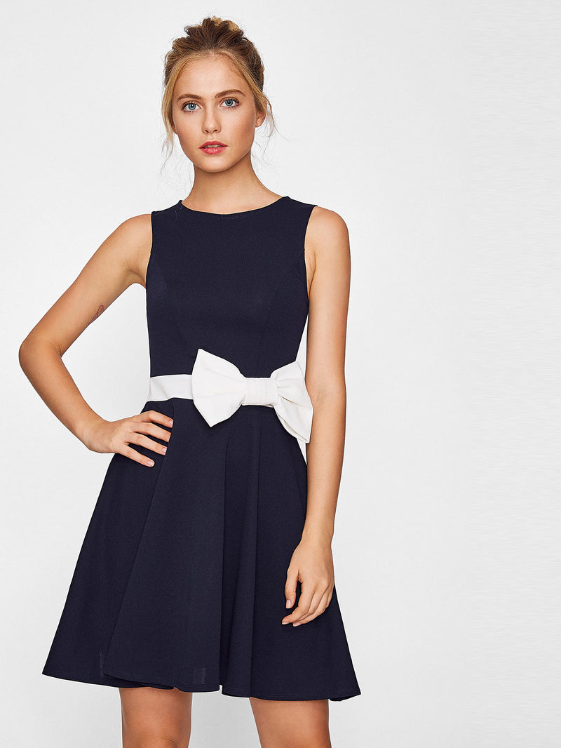 Contrast Bow Embellished Fit & Flare Dress