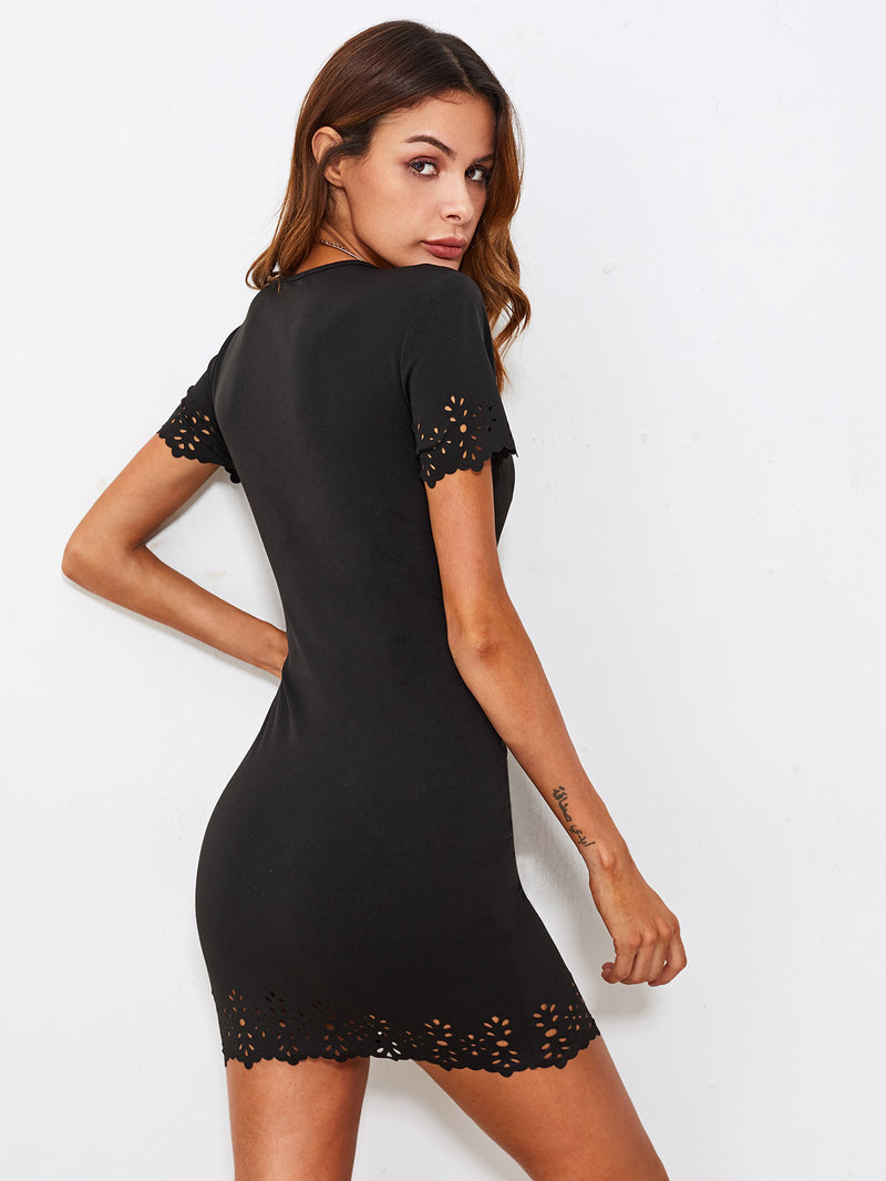 Scallop Laser Cut Form Fitting Dress