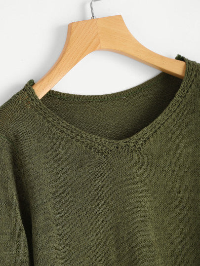 V-neckline Shirred Sleeve Sweater