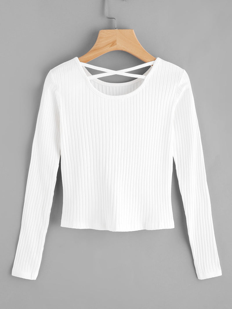 Criss Cross Back Ribbed Sweater