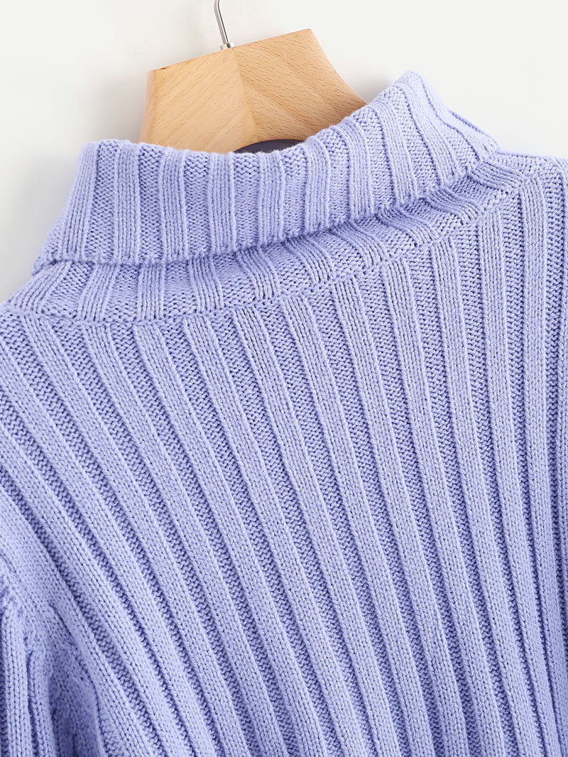 Rib Knit Fluted Sleeve Jumper