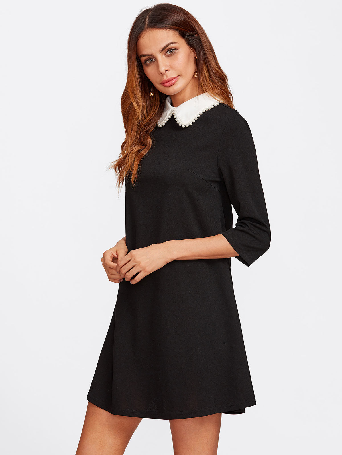 Pearl Beaded Contrast Collar Keyhole Back Dress
