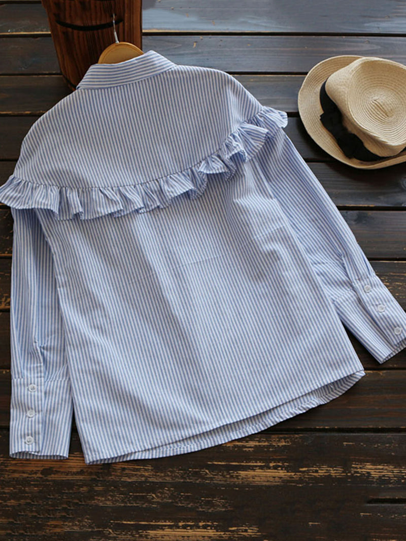 Half Placket Frill Trim Pinstripe Blouse