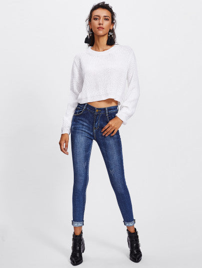 Cuffed Embroidered Skinny Jeans