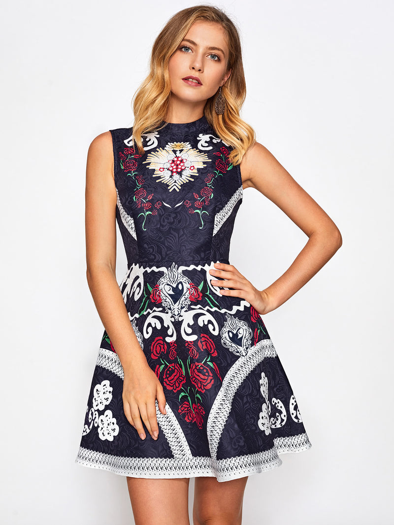 Mixed Print Fit & Flare Jacquard Dress