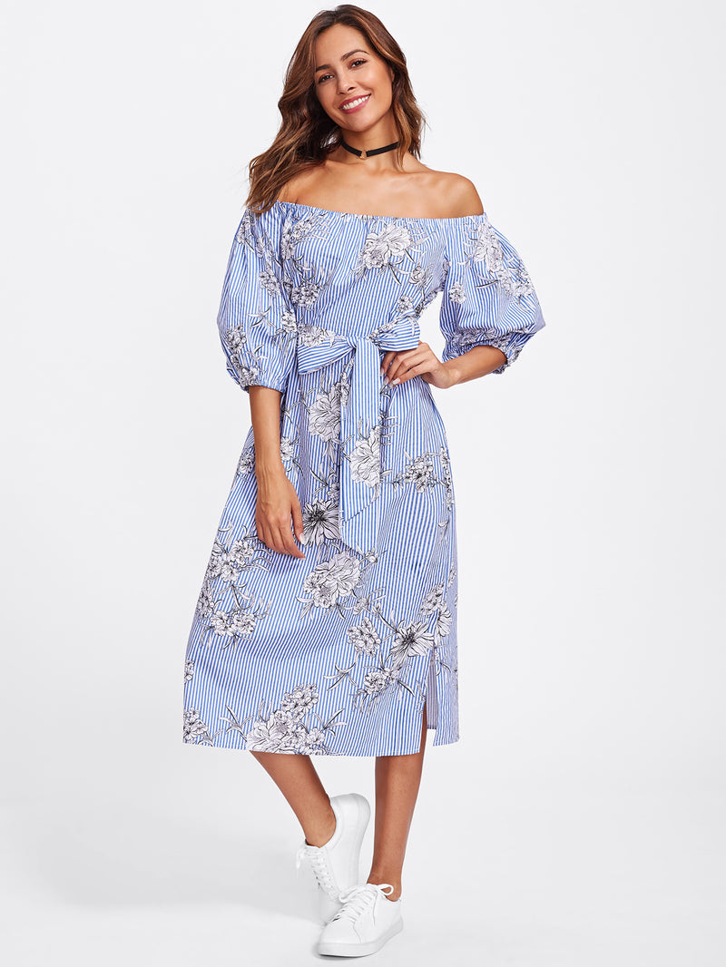 Self Tie Floral And Striped Bardot Dress