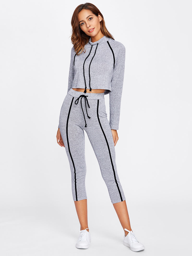 Raglan Sleeve Binding Marled Crop Top & Leggings Set