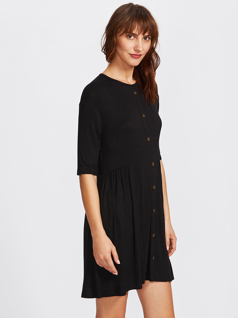 Button Front Smock Tee Dress