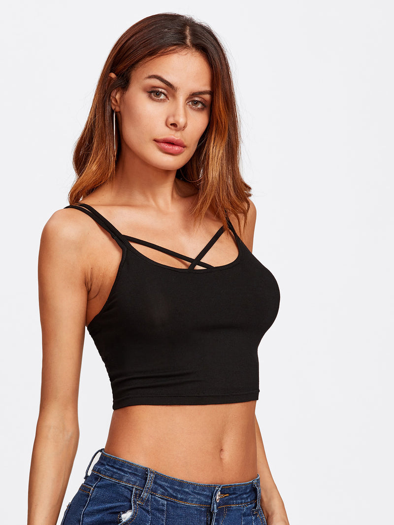 Two Way Strappy Crop Cami Top