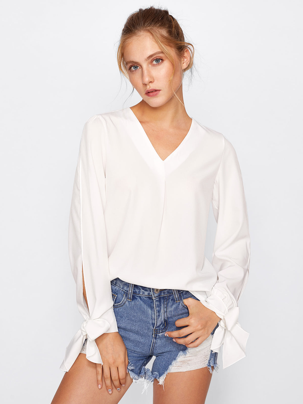 Bow Tie Cuff Fold Pleat Blouse