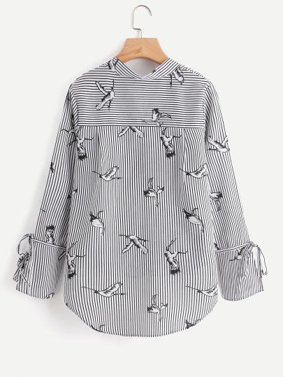All Over Cranes Print Dip Hem Striped Blouse