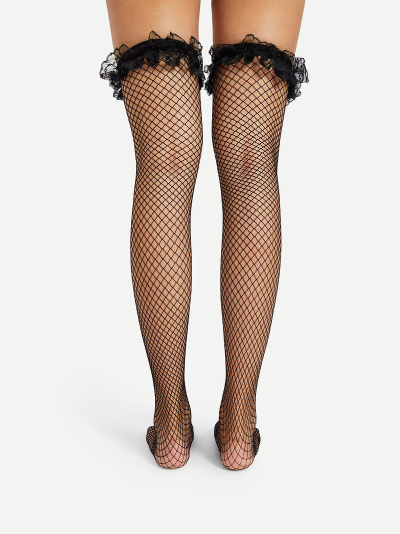 Lace Trim Over The Knee Fishnet Socks