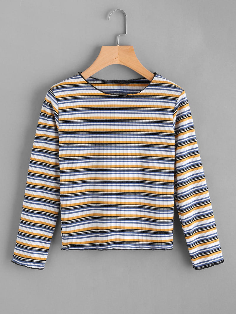 Contrast Striped Ribbed Knit Tee