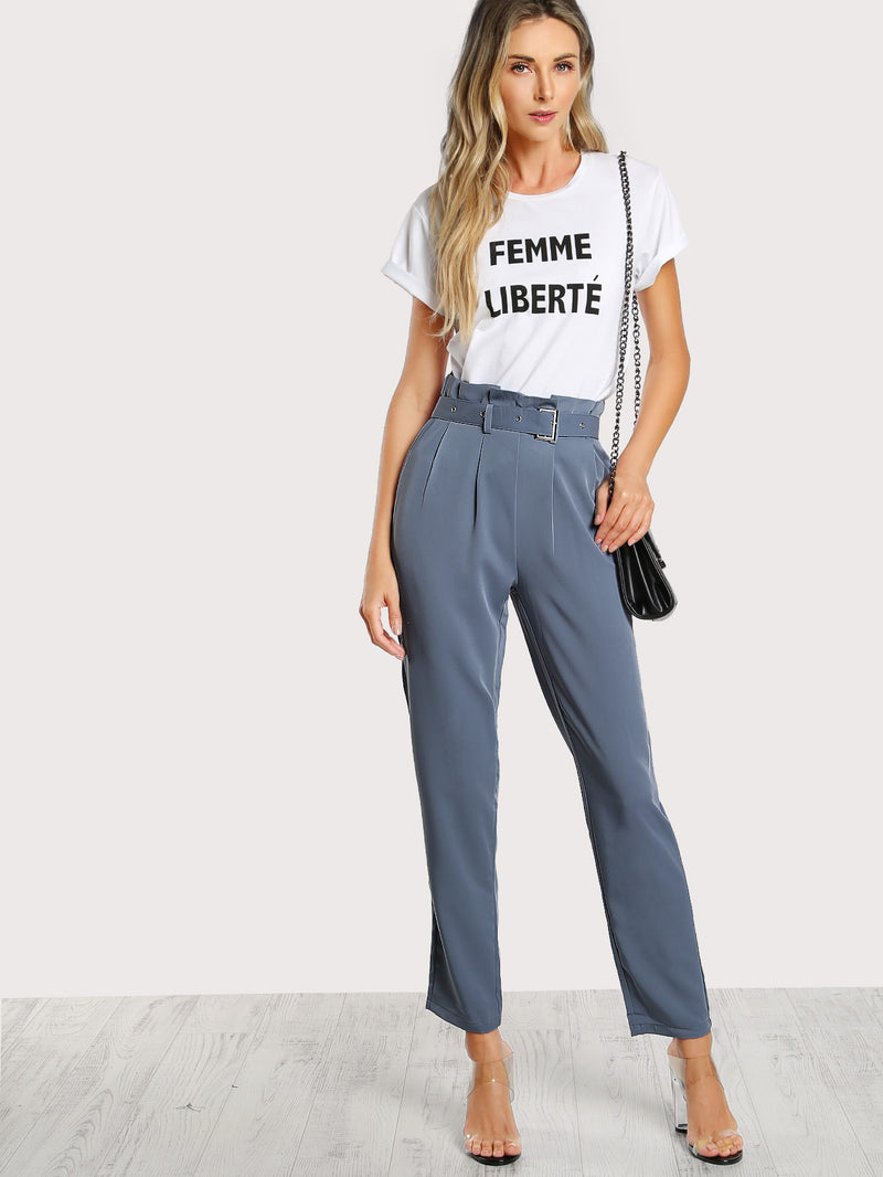 Pleated Tailored Pants With Buckle Belt