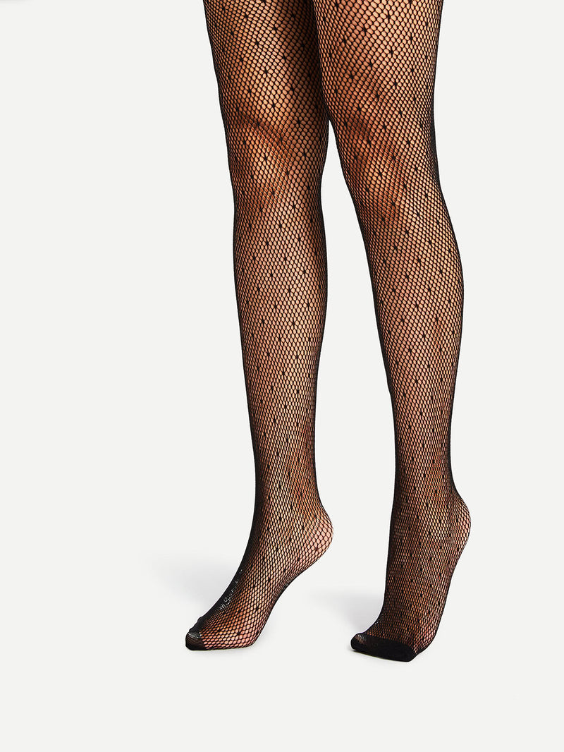 Dot Design Fishnet Stockings