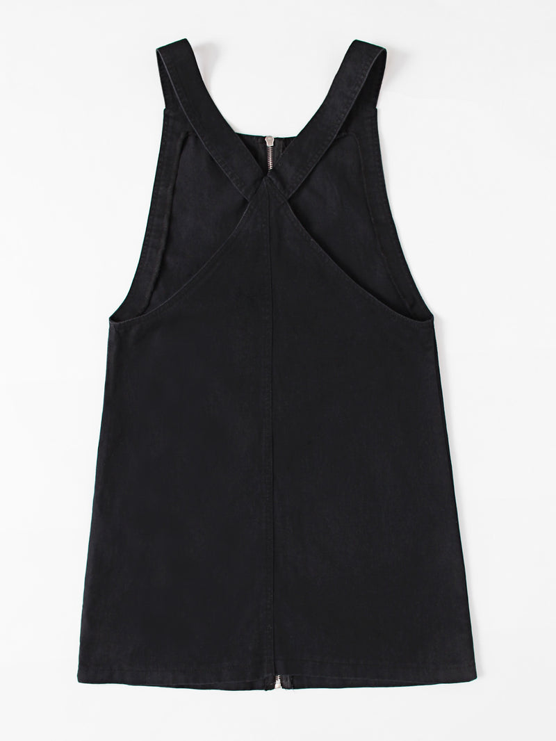 Pocket Front Zip Up Overall Dress