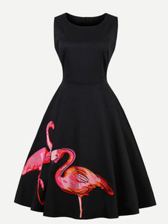Flamingo Embroidered Swing Dress