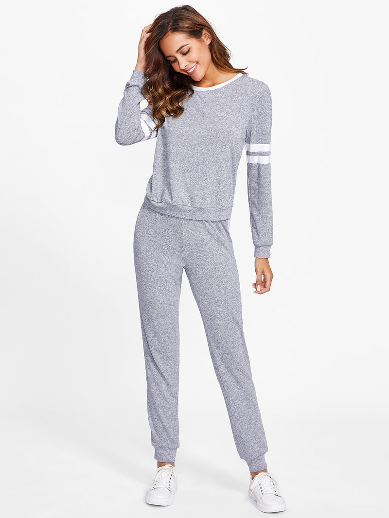Varsity Striped Marled Knit Loungewear Set