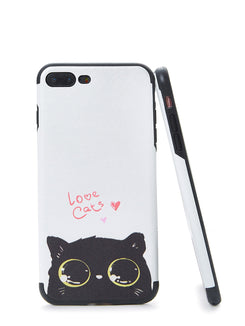 Two Tone Cat Print iPhone Case