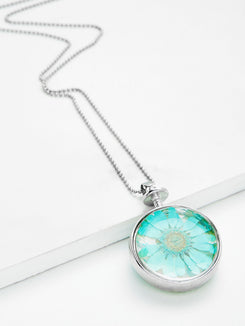 Glass Flower Round Pendant Chain Necklace