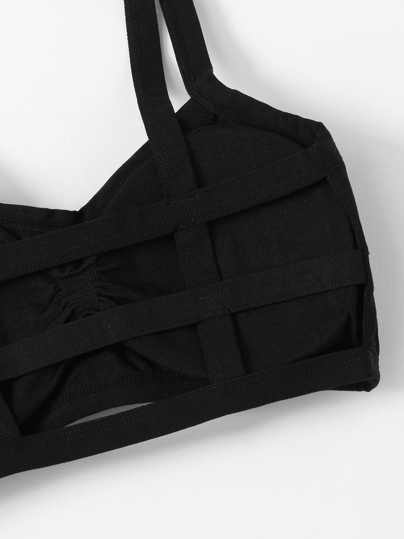 Ruched Detail Ladder Cut Out Bralette