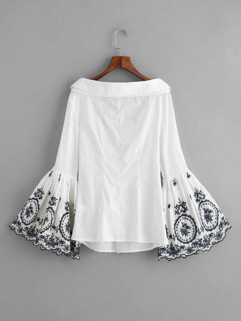 Embroidered Trumpet Sleeve Collared Boat Neck Blouse