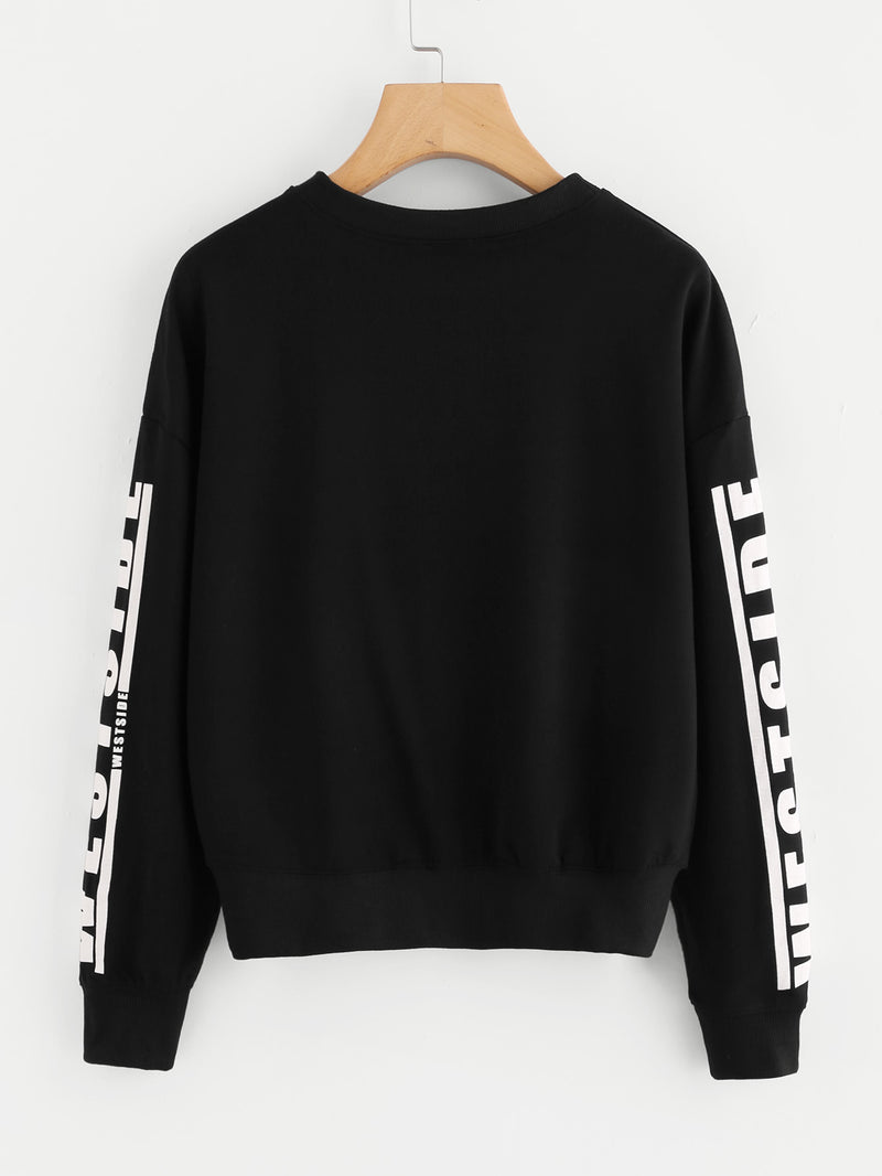 Slogan Print Drop Shoulder Pullover