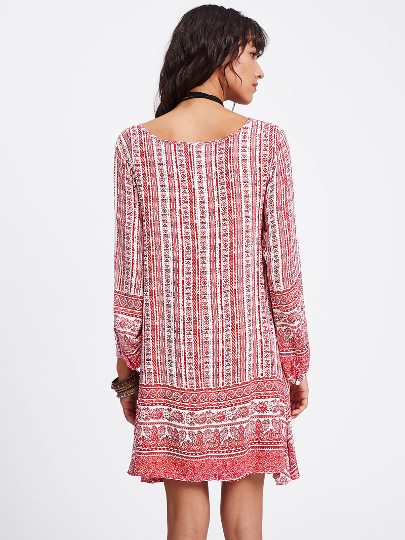 All Over Aztec Print Shift Dress