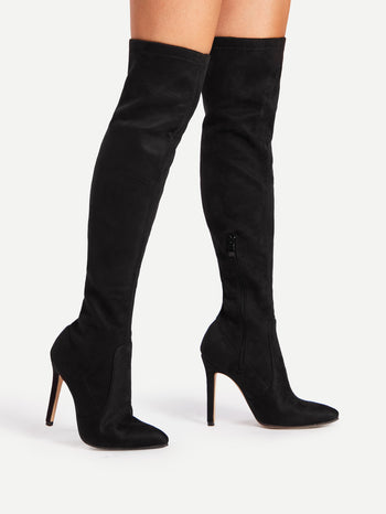 Pointed Toe Over Knee Heeled Boots