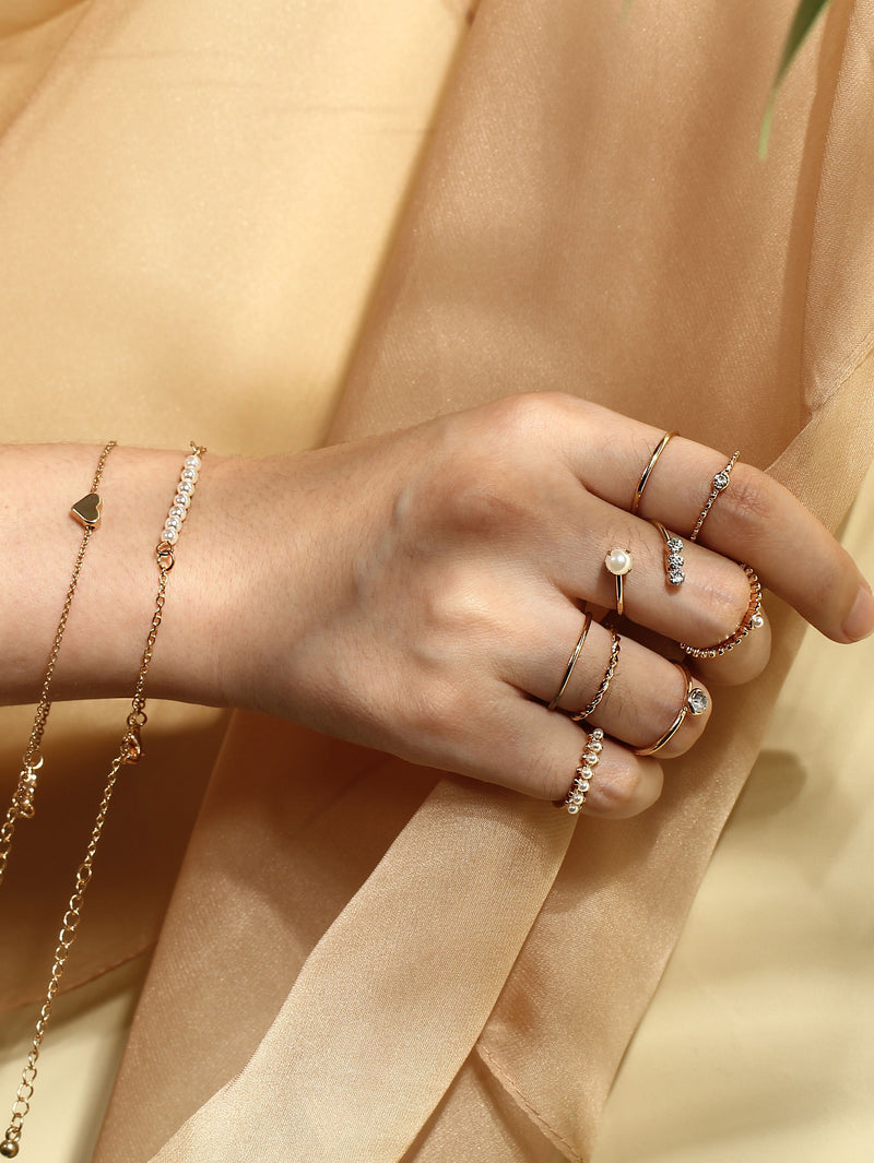 Faux Pearl Detail Rings & Link Bracelets Set