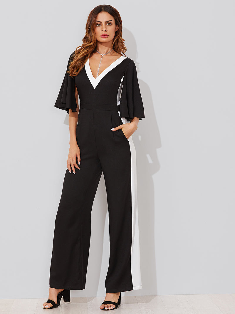 Contrast Panel Tie Back Cape Sleeve Jumpsuit
