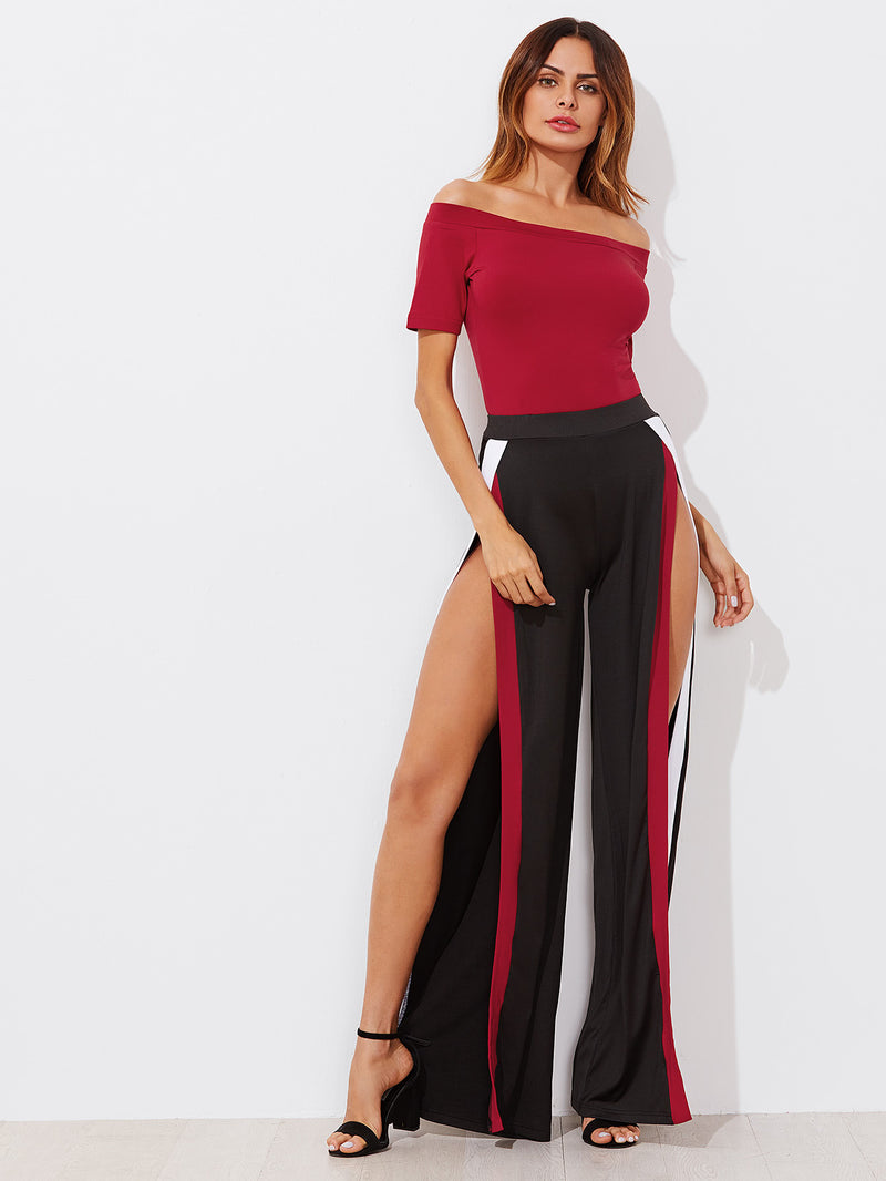 Bardot Bodysuit With Contrast Trim Split Wide Pants