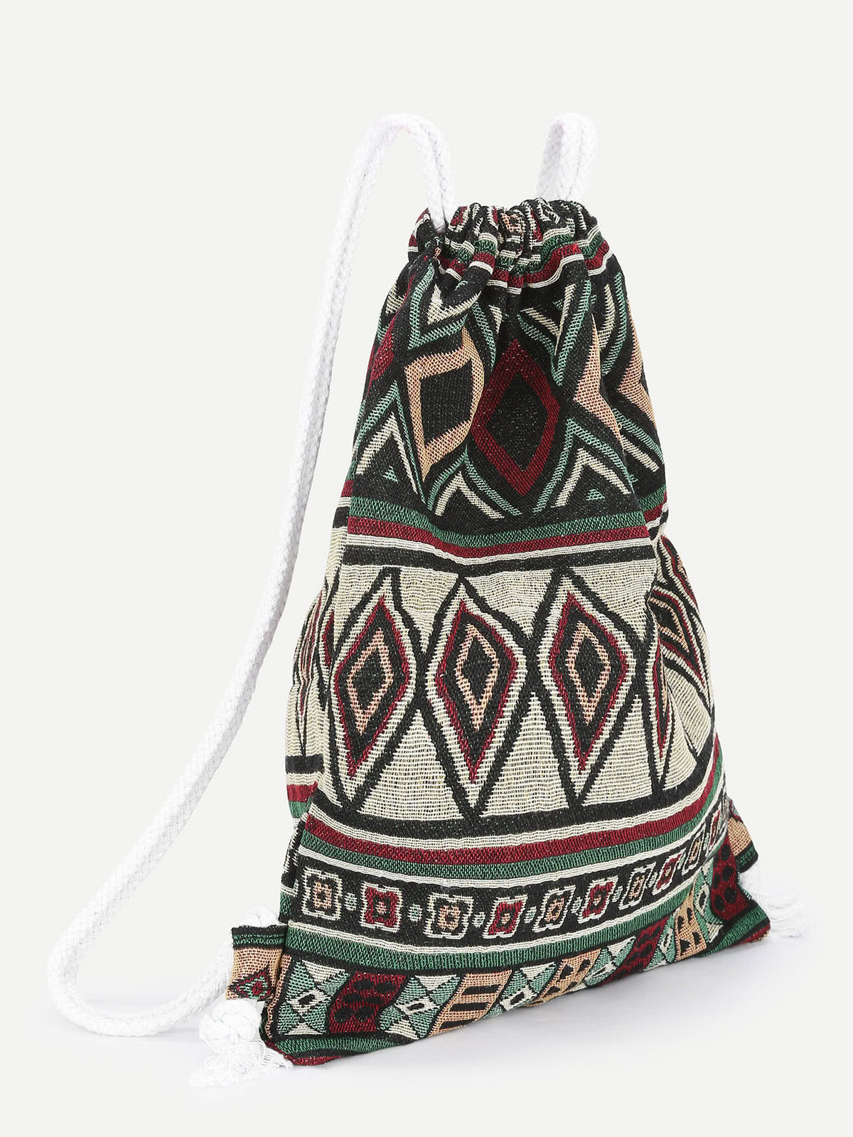 Geometric Print Drawstring Backpack