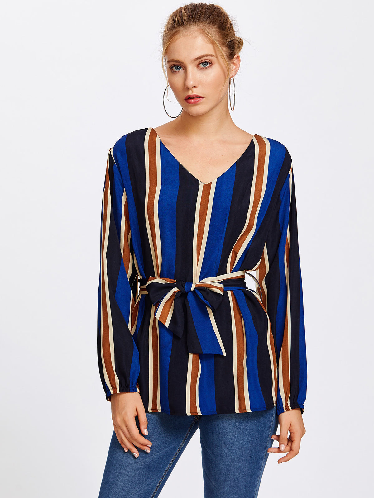 V Neckline Striped Blouse With Belt