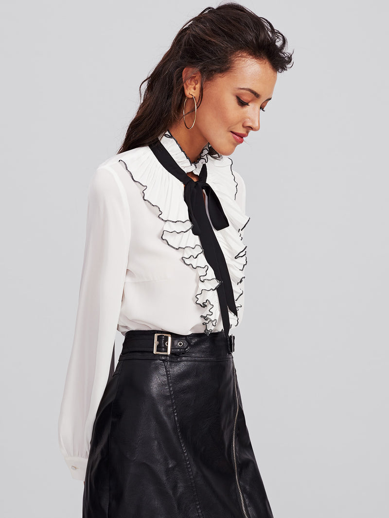 Bow Tie Pleated Frill Placket Blouse