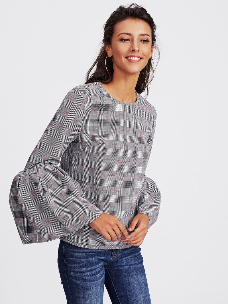 Exaggerate Trumpet Sleeve Buttoned Keyhole Check Top