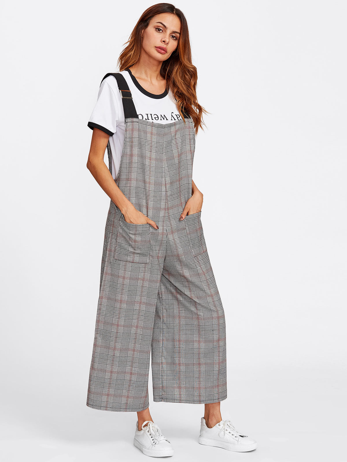 Checked Wide Leg Pinafore Jumpsuit
