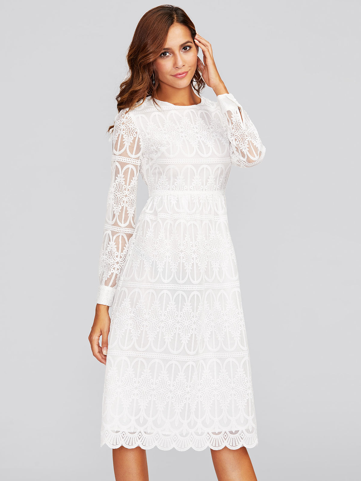 Scallop Hem Embroidered Mesh Overlay Dress
