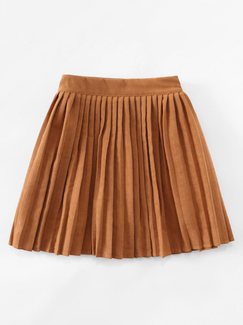 Elastic Waist Pleated Skirt