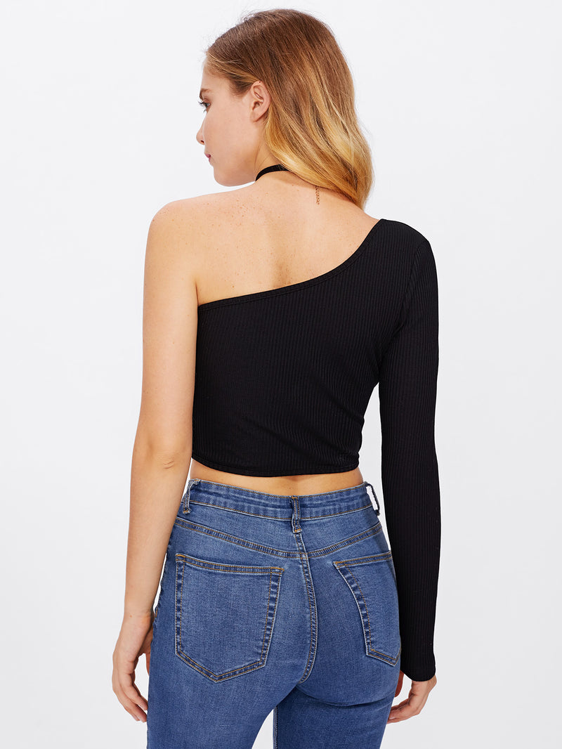 Oblique Shoulder Crop Ribbed Tshirt